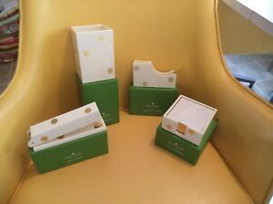 Nwt Kate Spade 4 Pc Lot Gold Dot Pencil Cup Note Holder Tape Dispenser Stapler