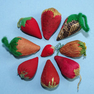 Antique Sewing Strawberry Emery Lot Collection Of 9 Victorian To 1930s Nice