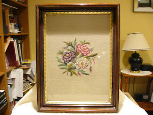 Vintage Large Wooden Rectangular Deep Dish Picture Frame With Floral Needlepoint
