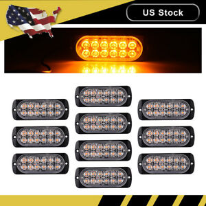 10x Amber Car 12 Led Emergency Strobe Light Kit Flash Warning Beacon Hazard