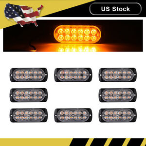 8x Amber Car 12 Led Emergency Strobe Light Kit Flash Warning Beacon Hazard