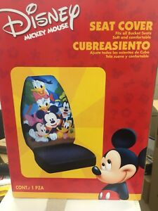 New 2 Pc Set Mickey Mouse Friends Car Auto Front Seat Covers Plasticolor