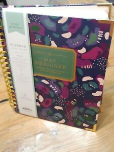 2019 Day Designer Planner Abstract Floral Glossy Lam daily mthly Wirebound