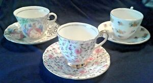 Lot Of 3 Cups Saucers Various Sets Fine Bone China Made In England