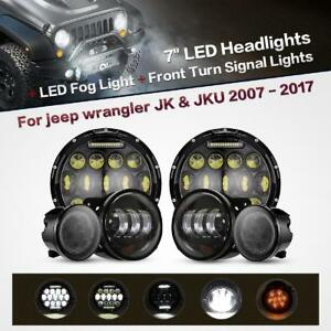 7inch Led Headlight fog Light front Turn Signal For Jeep Wrangler Jk 2007 2017