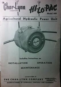 Char lynn Pto Hydraulic Pump Hi lo pac Tractor Owner Parts Service Manual 20p