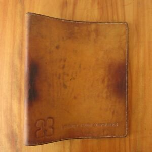 Vtg Distressed Leather Portfolio 3 Ring Binder Notebook Hershey Foods Corp Texas