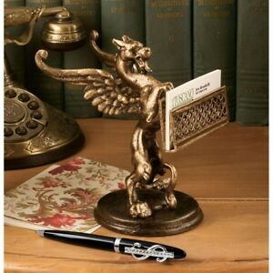 Detailed Gryphon Business Card Holder 19th Century Replica Desk Accessory New