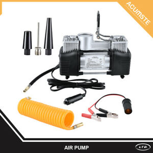 Air Compressor Pump Double Cylinder Heavy Duty Car Tire Inflator W Carrying Bag