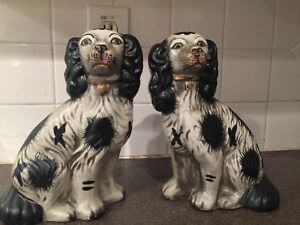 Pair Antique Hand Painted Staffordshire Spaniels Black White Large Figurines
