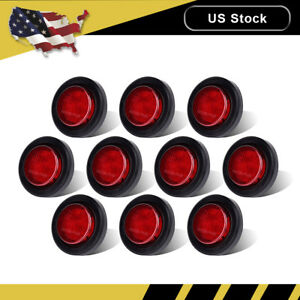10pcs Red 2 Round 9led Rv Trailer Side Marker Light Clearence Kit grommet 12v