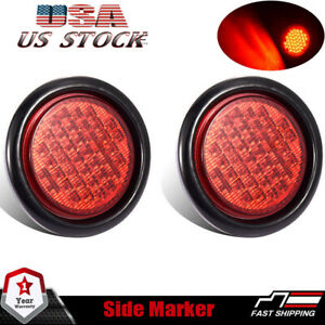 4 Round Truck Trailer Rubber Mount Stop Turn Tail Brake Light Sealed Red 40 Led