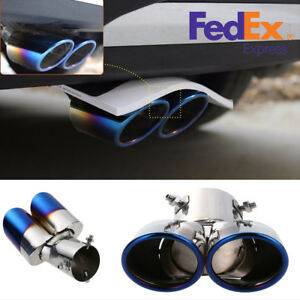 Blue Burnt Stainless Steel Car Auto Dual Exhaust Muffler Tip Pipe Tail Throat