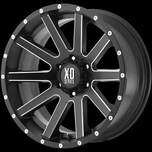 17 Inch Black Milled Wheels Rims Chevy Gmc Truck 6 Lug Xd Series Xd818 6x5 5 New