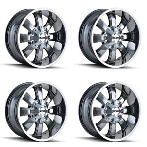 Set 4 20 Ion 189 Chrome Pvd Rims 20x9 5x5 5x5 5 18mm Jeep Chevy Gmc Dodge 5 Lug