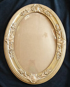 Antique Victorian Gold Wood Floral Gesso Oval Picture Frame W Convex Glass