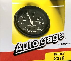 Auto Meter Autogage 2310 Mechanical Boost Pressure Vacuum Gauge Black 2 5 8