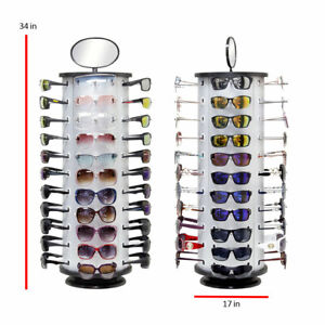 Sunglass Display Rack With Mirror And Spinning Bottom Brand New Holds 44 Pieces