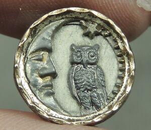 Pewter Brass Picture Button Owl Man In The Moon Metal