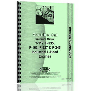 New Continental Engines F163 Tractor Operator Manual con o y112lhd
