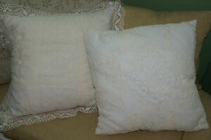 Antique 80 Yrs Handmade Lace Embroidery Made Into 2 New Quilted Silk Pillows