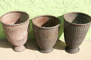 4 Rare Old Asian Collector Open Weave Storage Rattan Baskets Borneo Very Large