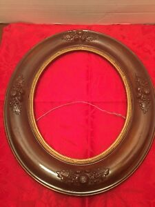 Vintage Antique Picture Frame 19th Century Oval Walnut