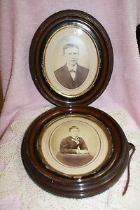 Lot Of 2 Antique Hand Crafted Wood Oval Frames With Portrait Photographs