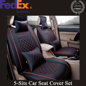 Deluxe Pu Leather Car Auto Front Rear 5 seats Seat Cover Cushion Pillow Size M