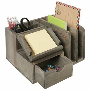Rustic Gray Wood Desktop Office Organizer W sticky Note Pad Holder Mail New