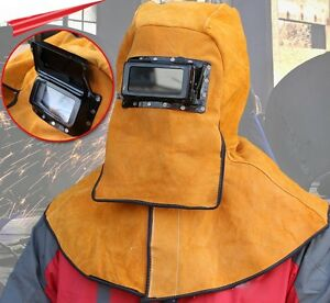 Leather Fire Flame Retardant Protective Welding Hood With Darkening Goggle Tool