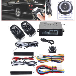 Universal Pke Car Alarm System Keyless Entry Push Button Remote Engine On Off