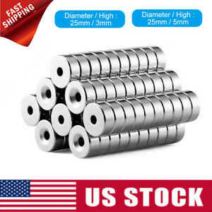 10 20 50 N35 Countersunk Round Disc Strong Magnets Rare Earth Neodymium Hole 5mm
