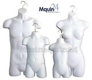 Hanging White Female Dress Male Child And Toddler Set 4 Body Mannequin Forms