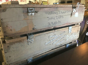 Vintage Wood Military Box Crate 32 x 16 x 8.5 ammo wooden storage