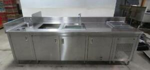 108 X 32 Stainless Steel Server Station Table Sink Cabinet Drop In Freezer