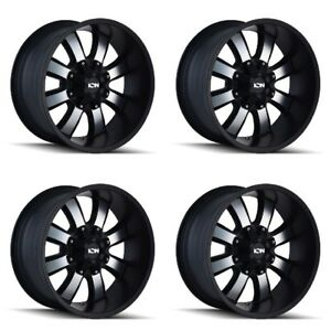 Set 4 17 Ion 189 Black Machined Rims 17x9 5x4 5 5x5 18mm Jeep Ford Chevy 5 Lug