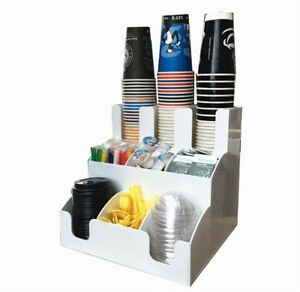 Caddy Coffee Cup 9 Racks Organizer Coffee Condiment Holder Cup Lid Dispense Ck