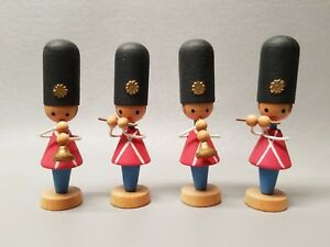 Vintage Wood Miniature Toy Soldier Set Band 3 1 2 Christmas