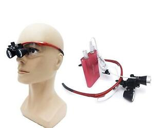 Dental 2 5x420 Surgical Binocular Loupes Magnifier Led Head Light Red Us Stock