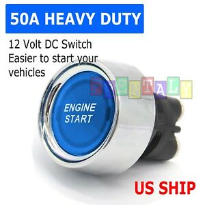 Universal 12v Car Blue Illuminated Engine Start Switch Push Button Race Starter