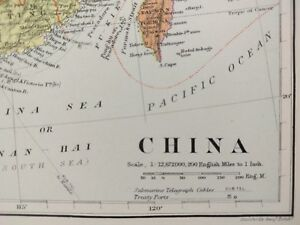 Stanford 1896 China Map Old Antique Great Wall Beijing Guangzhou Shanghai Mapz