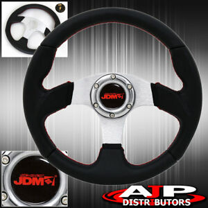 Jdm Sport 6 Bolt Hole Black Silver Center Steering Wheel Red Stitching Horn