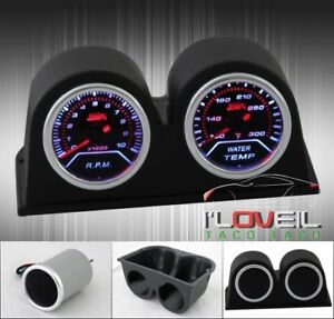 Tachometer Rpm Water Temperature Temp Gauge Led Smoked Twin Pod Holders Set