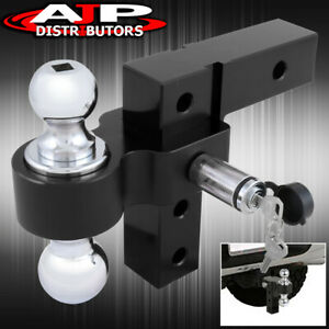 Adjustable Black Raise drop Dual Ball Mount 2 Hitch Tow Hook Trailer Lock
