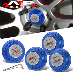 Motorsport Wheel Hub Center Cap Type R Badge Blue Racing Drag Vip Jdm Track