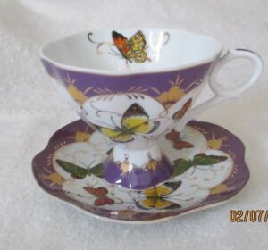 Beautiful Echt Germany Porcelain Tea Cup Saucer Butterfly Butterflies