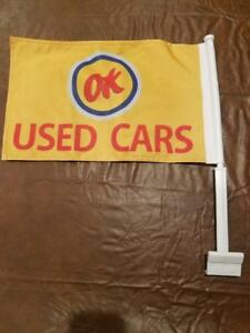 New Chevrolet Ok Used Cars Flag Sales Car Lot Dealer Chevy Vintage Advertising