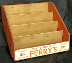 Antique Red Country Store Wood Box Stair Step Counter Display Case Ferry s Seed