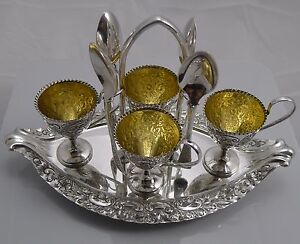 Magnificent Antique English Silver Plated Egg Cruet By Walker Hall C 1903